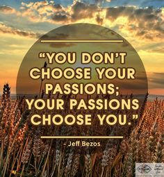 You Don't Choose Your Passions...Jeff Bezos quote