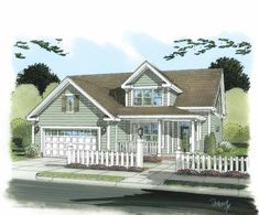 Eplans Country House Plan - Narrow Lot Concept - 1853 Square Feet and 3 Bedrooms from Eplans - House Plan Code HWEPL75207