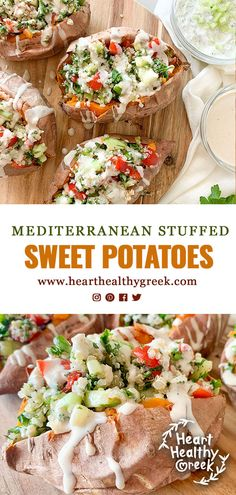 This recipe for Mediterranean Stuffed Sweet Potatoes is a healthy and filling vegan dish used as a side or main course. It has oven-baked sweet potatoes loaded with a gluten-free tabouli made with quinoa, fresh veggies and herbs finished with a dri Sweet Potato Recipes Healthy, Quinoa Sweet Potato, Sweet Potato Chili, Heart Healthy Recipes, Veggie Recipes, Vegetarian Recipes, Savory Foods, Healthy Food, Mediterranean Sweet Potatoes