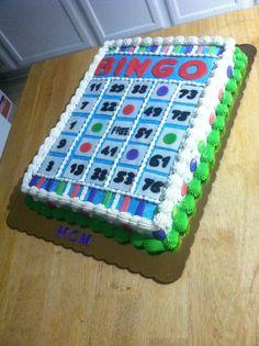 Bingo cake Bingo Cake, Bingo Party, 90th Birthday Parties, Birthday Ideas, Bingo Night, Birthday Sheet Cakes, Minnie Cake, Sponge Cake Recipes, Themed Cupcakes