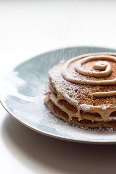 cinnamon roll pancakes  | edibleperspective.com #glutenfree