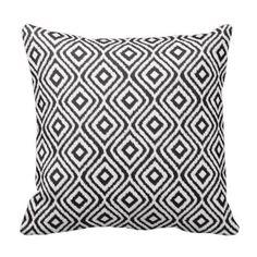 Black White Tribal Ikat Pattern Throw Pillows #decorativethrowpillows #throwpillows #pillowsforbedding www.prettythrowpillows.com