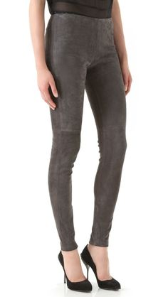 These plush suede leggings are kept cleanly minimalistic: the only details are seamed knees and hidden ankle zips. There is a hidden side zip at the hip. Fabric backing.    Fabric: Suede.  100% lambskin.  Leather clean.  Imported.    MEASUREMENTS  Rise: 8.5in / 21.5cm  Inseam: 28in / 71cm  Leg opening: 9in / 23cm