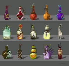 Collection of potions, Yana Pronskaya on ArtStation at https://www.artstation.com/artwork/n4VoK