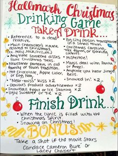 This Hallmark Christmas movie drinking game will definitely be the hit of your holiday movie marathons! Whip up some eggnog and enjoy the fun of watching Hallmark Christmas movies with this drinking game. Christmas Drinking Games, Movie Drinking Games, Christmas Party Games, Christmas Drinks, Holiday Fun, Holiday Movie, Holiday Ideas, Festive, Holiday Games
