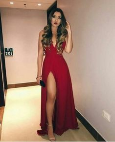 Sexy V neck Red Prom Dress with Slit, A Line Prom Dresses, Long Evening Dress - Sexy V neck Red Prom Dress with Slit, A Line Prom Dresses, Long Evening Dress - Prom Outfits, A Line Prom Dresses, Grad Dresses, Dance Dresses, Homecoming Dresses, Evening Dresses, Dress Outfits, Summer Dresses, Wedding Dresses