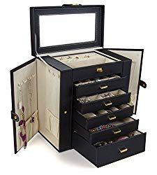 Buy Kendal Huge Leather Jewelry Box/Case / Storage securely online today at a great price. Kendal Huge Leather Jewelry Box/Case / Storage available today at he. Wooden Jewelry Boxes, Wooden Boxes, Jewellery Storage, Jewelry Organization, Earring Storage, Jewellery Box, Bracelet Storage, Necklace Storage, Organization Ideas