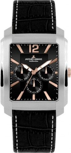 Jacques Lemans 1-1463V Men's Watch Black Leather Strap Stainless Steel
