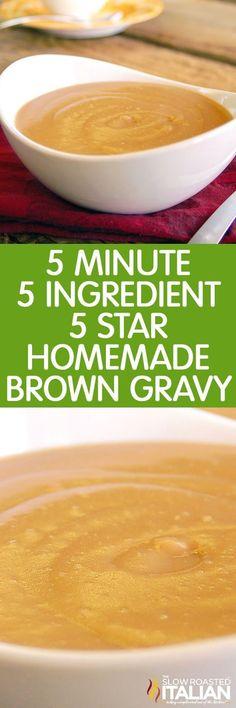 5 Minute, 5 Ingredient, 5 Star Homemade Brown Gravy (Video) 5 Minute, 5 Ingredient, 5 Star Homemade Brown Gravy (With Video)<br> Homemade Beef Gravy, Beef Gravy Recipe, Homemade Brown Gravy, Brown Gravy Recipe Easy, Quick Gravy Recipe, Home Made Gravy, Pesto, Sauce Barbecue, Recipes
