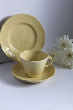 3 Available by AtticBazaar on Etsy Shades Of Yellow, Cake Plates, Tea Cup Saucer, Teacups, Jasmine, 1940s, Woods, Pottery, Colours