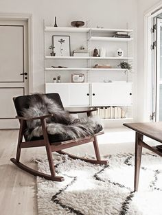 77 Gorgeous Examples of Scandinavian Interior Design Scandinavian-style-interior-with-fur-features (rustic living room decor interior design) Danish Living Room, Living Room Scandinavian, Scandinavian Interior Design, My Living Room, Home Interior Design, Living Room Furniture, Scandinavian Style, Scandinavian Bathroom, Scandi Style
