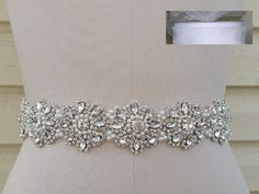 "Crystal Pearl Wedding Dress Sash Belt in White Sheer Organza Sash = 18"" Long"