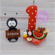 Vela decorada PicNic + Formiguinha com nome no Elo7 | Paty's Biscuit (C4B623)