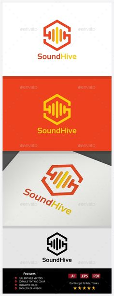 Sound Hive  Logo Design Template Vector #logotype Download it here: http://graphicriver.net/item/sound-hive-logo/10395879?s_rank=1492?ref=nexion