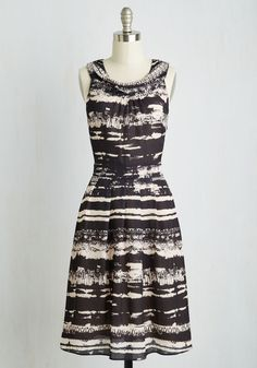 Captivating Consultation Dress. Before getting down to business, your new client compliments the chic professionalism you exude in this black and cream midi. #multi #modcloth
