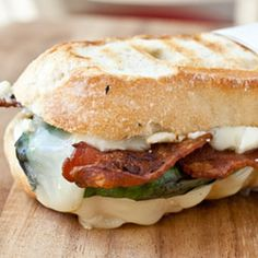 Brie, Basil, Bacon and Blue Panini. Oh. my. gosh. One day I will eat this and it will be amazing.