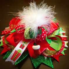 "Christmas ""burst"" hairbow 🎄 🎀"