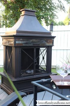 Outdoor Fireplace from Lowes!  Love this!  I hope it's a gas fireplace and not wood burning.