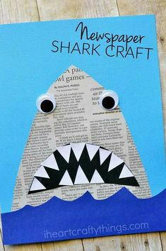 This newspaper shark craft for kids is amazingly simple to make and is great for kids of all ages so it makes a perfect activity for the whole family. # family activities for toddlers Newspaper Shark Craft Daycare Crafts, Toddler Crafts, Preschool Crafts, Fun Crafts, Craft Kids, Craft Art, School Age Crafts, Children Crafts, Kindergarten Crafts Summer