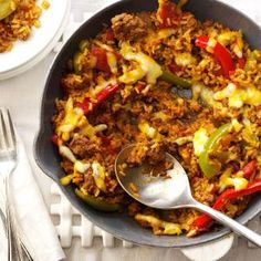 Beef & Pepper Skillet Recipe -I love Mexican-inspired food. I also enjoy experimenting with recipes like this one and making them as healthy—and downright good!—for my family as possible. —Jenny Dubinsky, Inwood, West Virginia