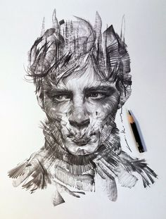 Swirling Lines and Swaths of Charcoal Form Dramatic Portraits by Lee.K   Colossal