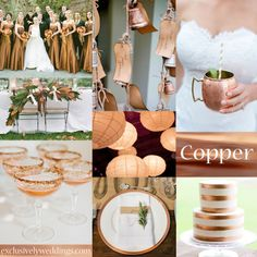 Copper Wedding Color | #exclusivelyweddings Good for fall wedding Literally the most PERFECT wedding color scheme ever. Plus I LOVE the Moscow mules on copper mugs!