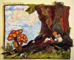 Textile Fiber Art Wall Hanging Mini by Quick2ListenFiberArt, $165.00