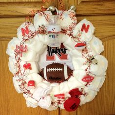 Nebraska Huskers Diaper Wreath.. if I have kids I want someone to make me this!