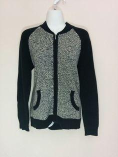 American Living black & white marled full zipper cardigan sweater, Medium, #3661 #AmericanLiving #Cardigan