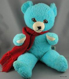 "Knickerbocker Teddy Bear 15"" Rayon Blue Plush NJ Vintage c1960s Spangle Eyes Seam Tag Joy of the Toy Animals of Distinction"