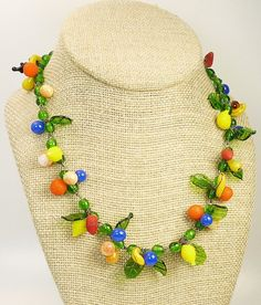 Vintage Art Deco Glass Fruit Necklace by jujubee1 on Etsy