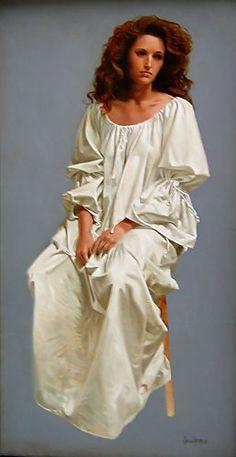 White Dress Study  An Original Painting by James Christensen