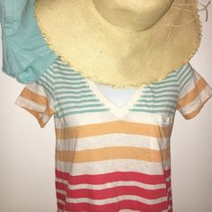Madewell T-Shirt Adorable striped v-neck with front pocket. VERY light piling. Only mentioning the piling because you cab see it if you study the shirt up close. In great condition!! Madewell Tops Tees - Short Sleeve