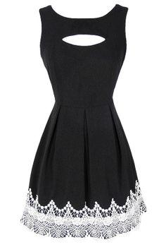 Ivory Lace Trim Cutout A-line Dress  www.lilyboutique.com