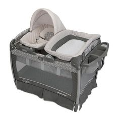 Graco Pack N Play with Nuzzle Nest Sway Seat - Finland  We still use pack n play when traveling. We used one like this in our bedroom till we moved baby to their crib. Loved the attached changing station for middle of the night changings!  We went with neutral color so I could be used for girl or boy