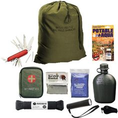 Always be prepared, this is a great Emergency Disaster Preparedness Starter's Kit.  It includes everything shown, plus basic First-Aid Items in the First Aid Ki
