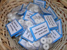 "Small daily gift - Tags say ""Thank you for your commit-""mint"" to our school"""