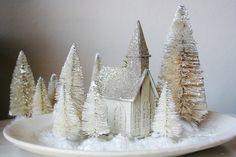 Set of 5 White Bottlebrush Trees