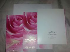 Three (3) HALLMARK STAMPED Pink Rose Thank You Cards With Matching Envelopes