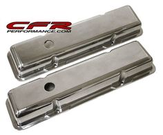 CFR Chevy Small Block Short Polished Aluminum Valve Covers - Smooth, As Shown Chevy, Smooth, Engine, Muscle, Car, Accessories, Automobile, Motor Engine, Muscles