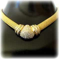Christian Dior Gold Tone Choker Necklace Offered by 2Hearts Uptown Jewelry