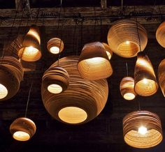 Scraplights made from corrugated cardboard, from Seattle-based Graypants.