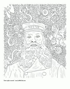 Sunflower Coloring Page Van Gogh