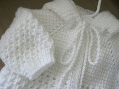 White Crochet Baby Sweater with Hood for Boy от ForBabyCreations