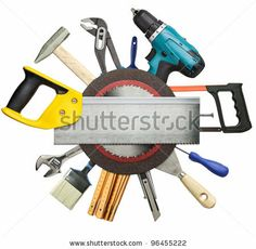 Carpentry, Construction Tools Collage Background. Stockfotonummer: 96455222 : Shutterstock