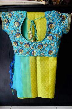 No photo description available. Pattu Saree Blouse Designs, Bridal Blouse Designs, Mirror Work Blouse, Maggam Work Designs, Designer Blouse Patterns, Blouse Styles, Indian Wear, Indian Blouse, Indian Sarees