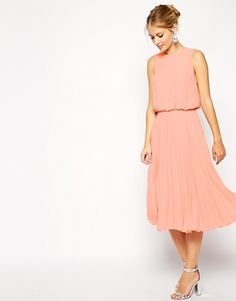 ASOS Midi Skater Dress with Pleated Skirt and Blouson Top
