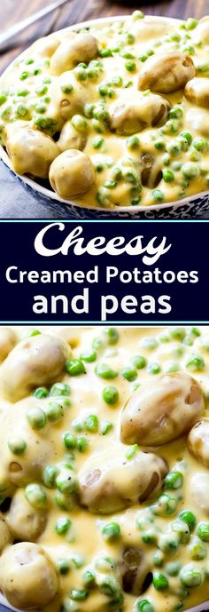 Cheesy Creamed Potatoes and Peas - a classic southern side dish. This recipe is a little different in that it has Velveeta cheese melted into the creamy sauce .