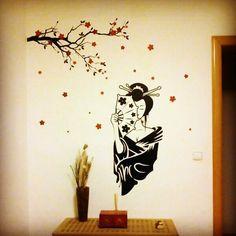 geisha y flores de cerezo retovinilo vinilos decorativos rotulacion