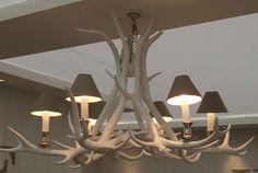 Lustre bois de cerf blanchis 6 bougies - Mon Chalet Design